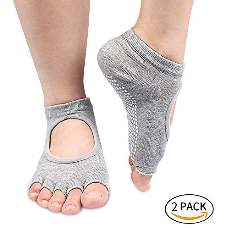 A Pair Toeless Gym Yoga Pilates Barre Grip Socks Non-Slip Skid Half-toe Ladies