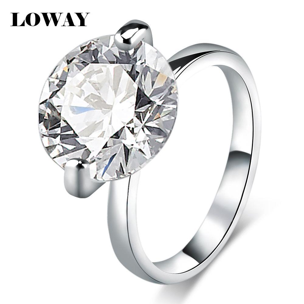 Loway 큰 10 캐럿 제안 반지 사이즈 10 큐빅 지르콘 화이트 골드 도금 anillos 약혼 반지 보석 jz5893