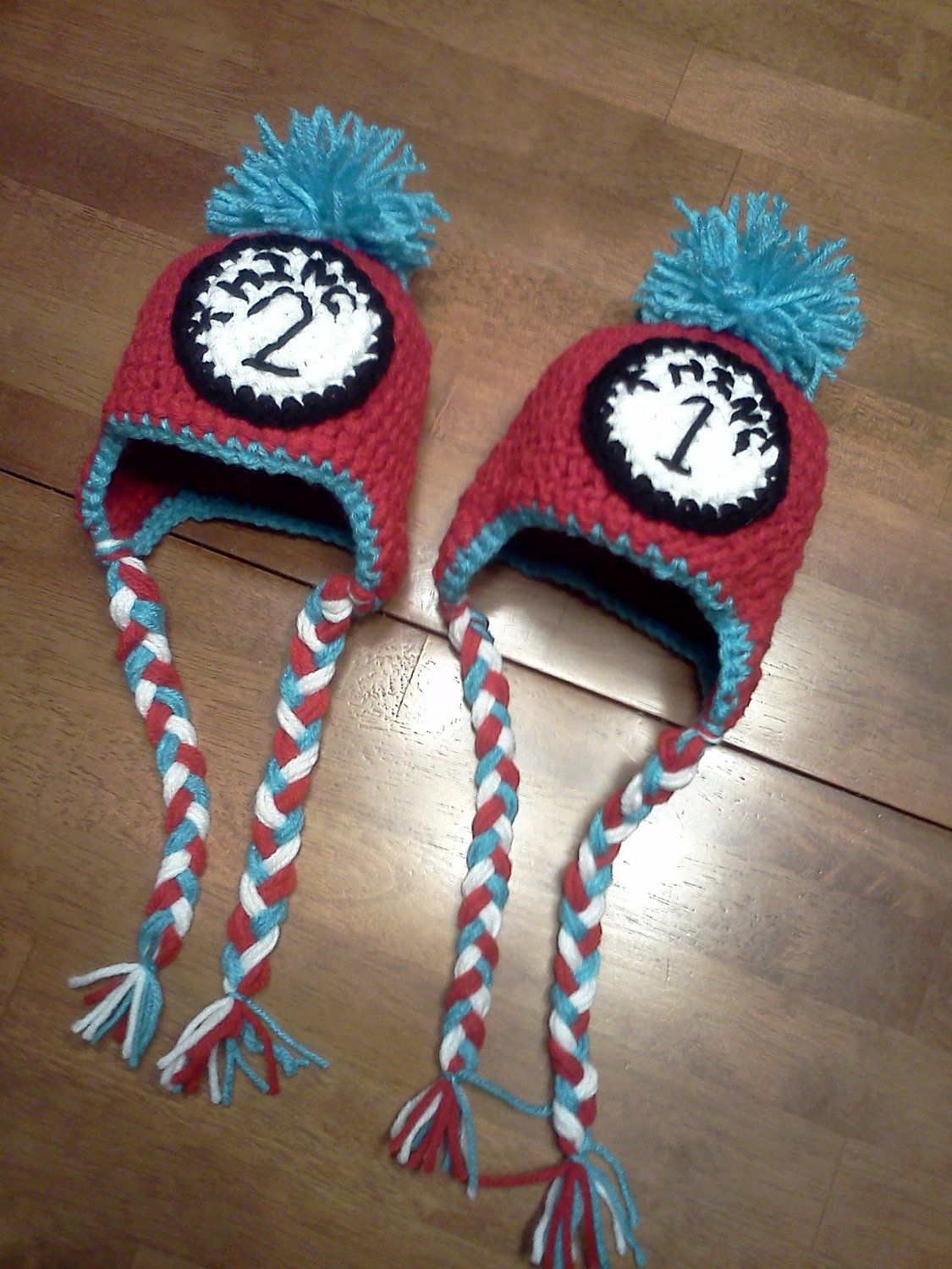 Dr Seuss Thing 1 Thing 2 Crochet hat set. $32.00, via Etsy. | Love ...