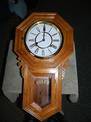 DA SCHOOL HOUSE REGULATOR Wall Clock Oak Brass Wind Up Chime