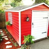 Photo of Metal Garden Shed With Red Painted Walls And White Door #shedplans,  #door #gard…