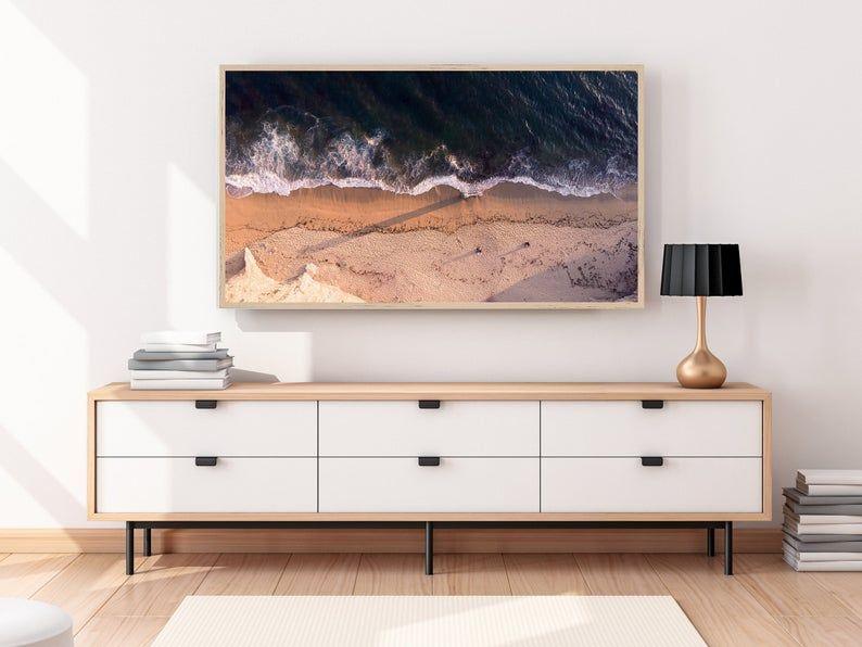 Samsung Frame Tv Art Aerial Beach Art For Frame Tv Samsung Etsy In 2021 Framed Tv Living Room Tv Home Decor