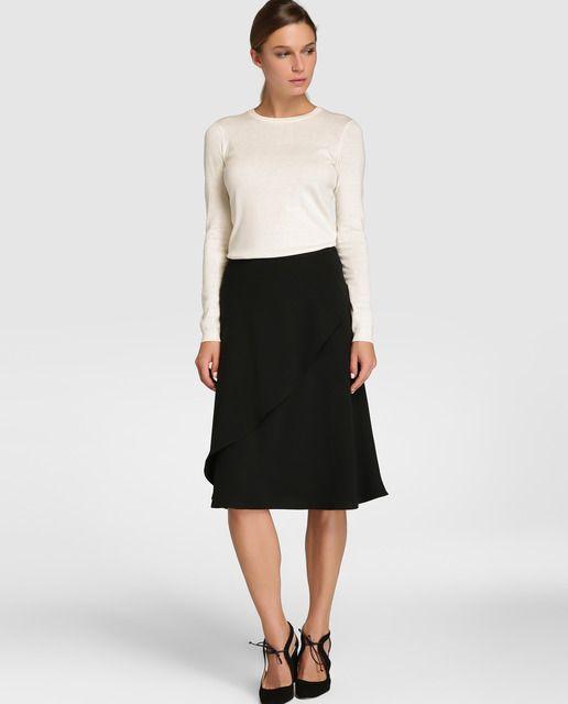 ace7c3e5d Falda midi de mujer Lauren Ralph Lauren con volante   faldas ...