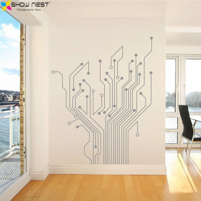 Circuit Tree Contempory Art Mural Wall Stickers Home Decor Stikers For Wall…