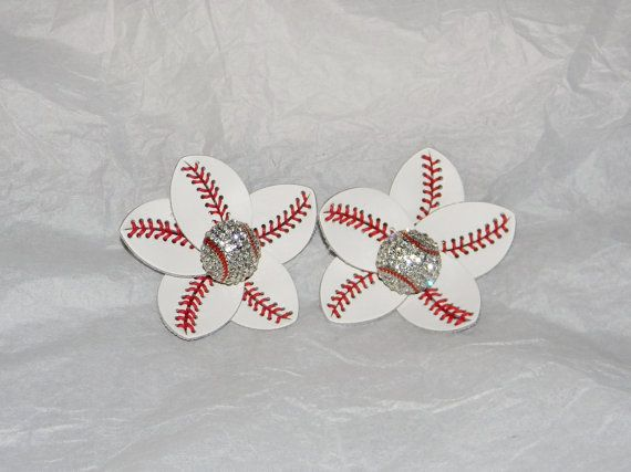 19abd8873845 Authentic Leather Baseball Stitch Flower Clips by CajunFireflies ...