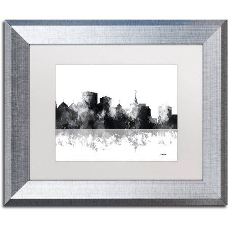 Trademark Fine Art Oakland California Skyline Bg 1 Canvas Art By Marlene Watson White Matte Silver Frame Products Art Framed Art Canvas Art