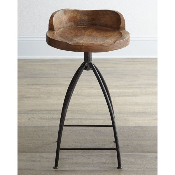 Arteriors Wood Swivel Counter Stool featuring polyvore home furniture stools barstools wooden barstools wooden swivel counter stools swivel bar stools swivel bar-stool wood swivel bar stools