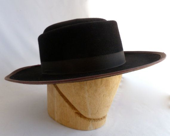 Amish Man s Winter Hat Authentic hat Black wool size 7 1 8 f3c0572e38f