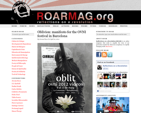 Oblivion: manifesto for the OVNI festival in Barcelona | Reflections on a Revolution ROAR