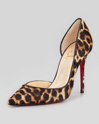 fc6d5215a3e Christian Louboutin Iriza Leopard-Print Calf Hair Red Sole Pump - Neiman  Marcus