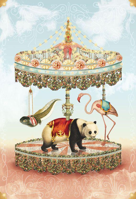 Animal Carousel Collage Panda Tadpole Flamingo Vintage