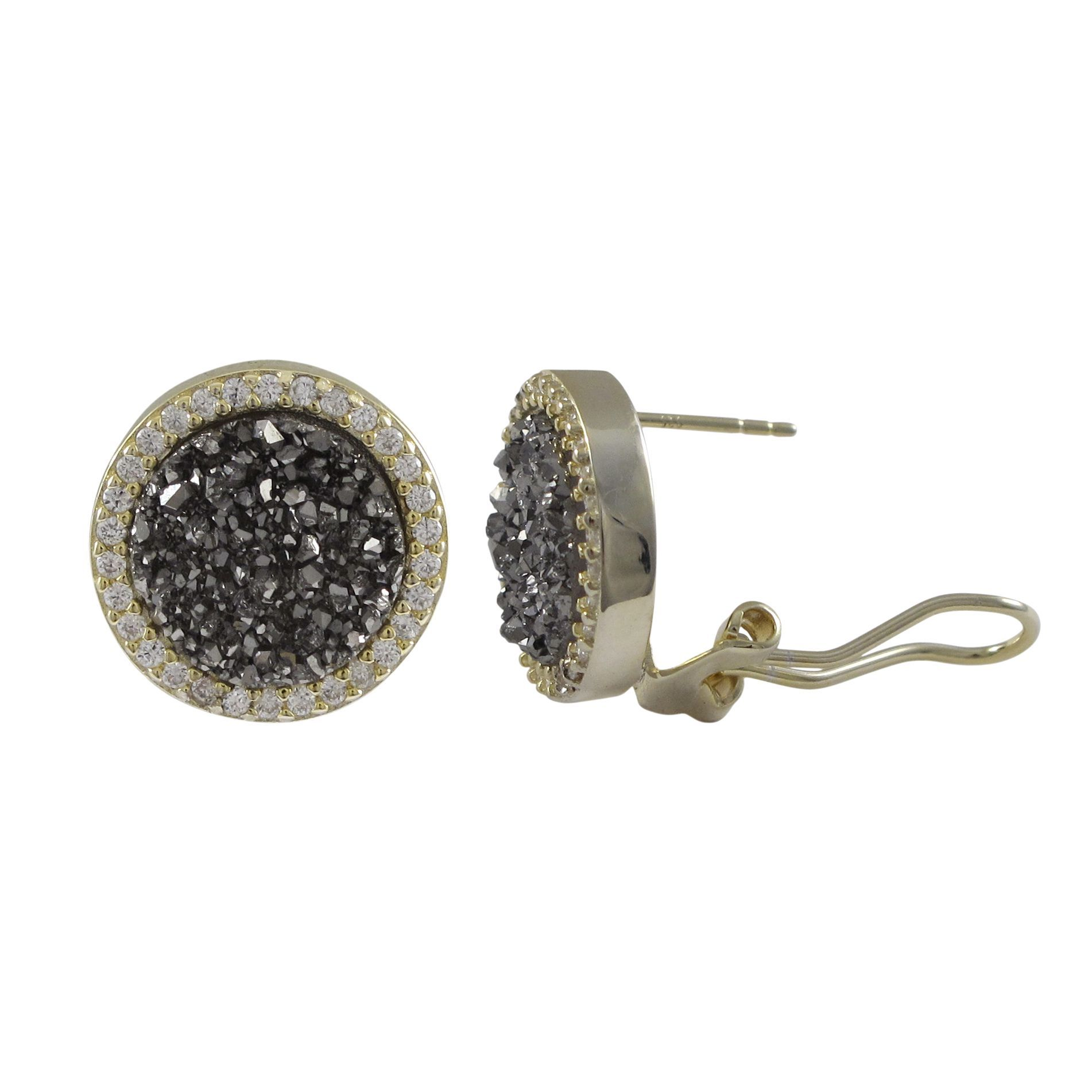 Luxiro Sterling Silver Druzy Quartz and Cubic Zirconia Circle Stud