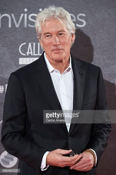 NOVEMBER 23: Actor Richard Gere and girlfriend Alejandra Silva attend the 'Invisibles' (Time Out of Mind) charity premiere at the Callao cinema on November 23, 2015 in Madrid, Spain.