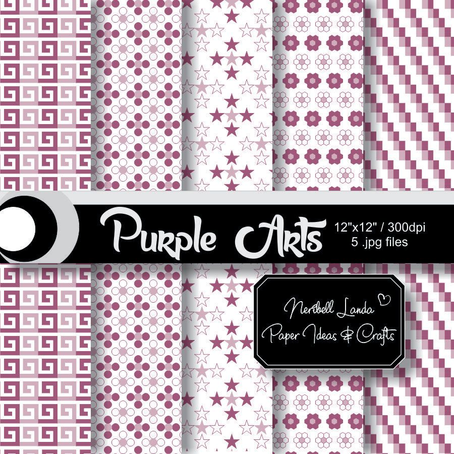 Purple Arts: Digital papers patterns for scrapbook and more. 12x12in/300dpi/CMYK color/Hi-Res .jpg files. Ready for download and use! de PaperIdeasAndCrafts en Etsy