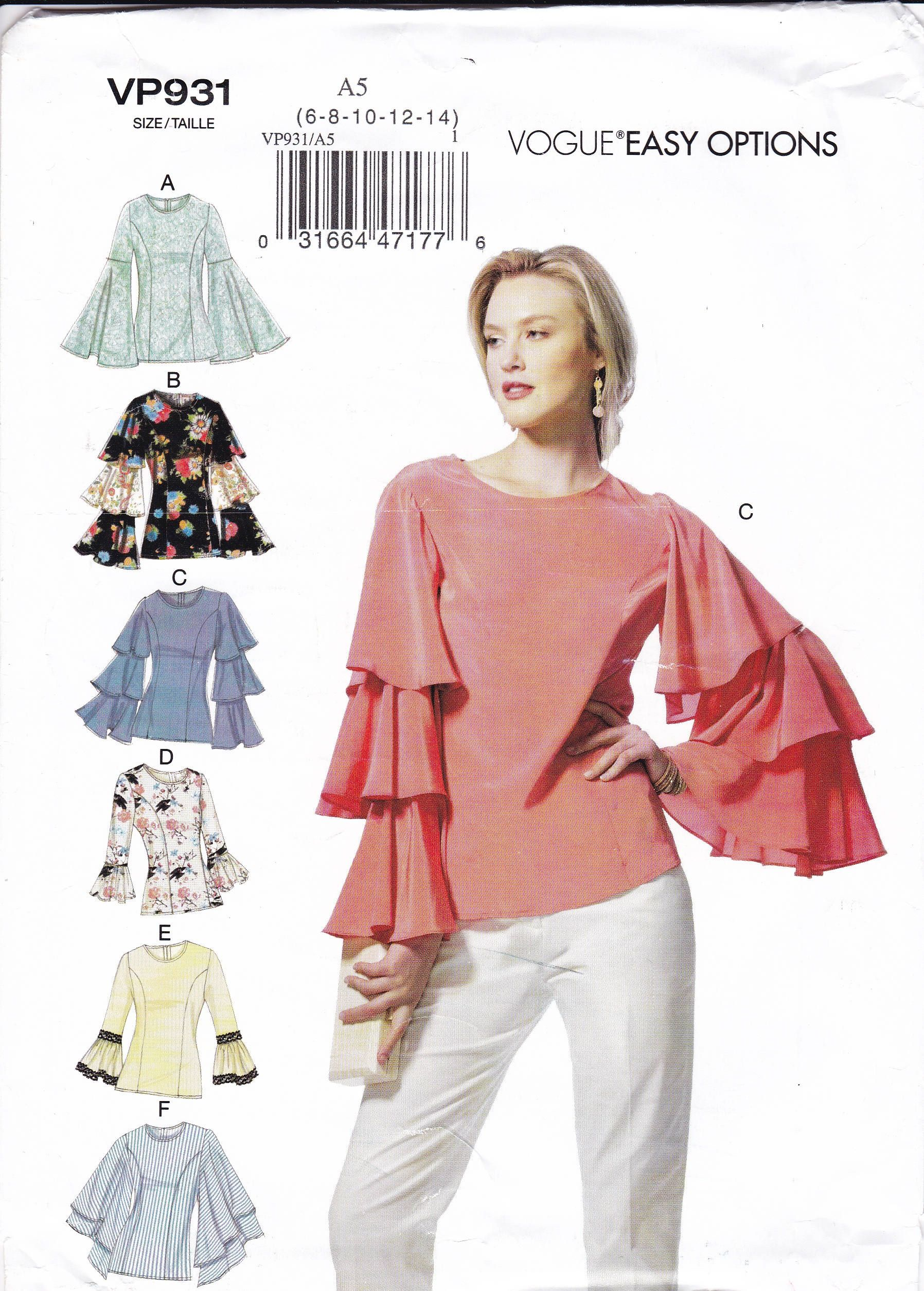 Free Us Ship Vogue 931 9243 Sewing Pattern Trumpet Tiered Sleeve