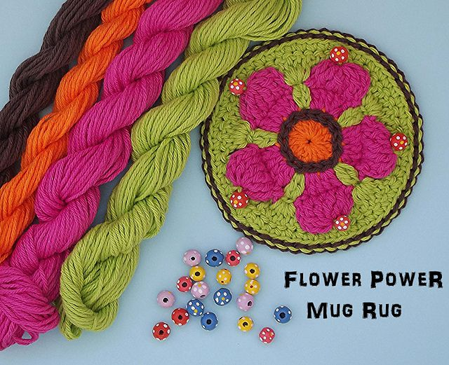 Flower Power Mug Rug by Donna Kay Lacey
