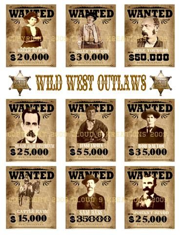 Wild West OutlawsWanted Posters Digital Collage Sheet-outlaw