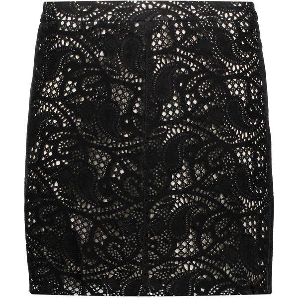 Haute Hippie Paisley laser-cut suede mini skirt (445 AUD) ❤ liked on