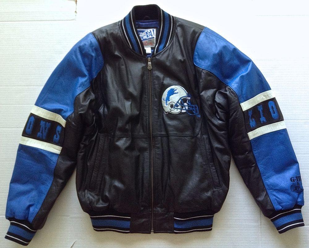 0c2972c93 Rare Vintage G III Carl Banks Leather Jacket Coat Detroit Lions NFL ...