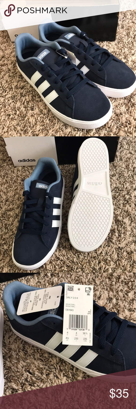 NWT kids adidas Daily 2.0 Suede upper