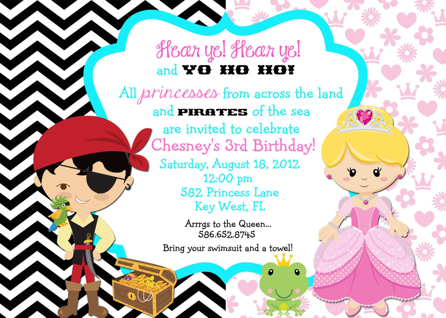 Love this now just have to figure out if she wants mermaid or – Princess and Pirates Party Invitations