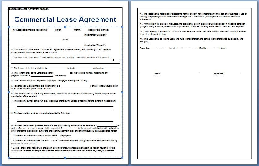 A contract between a tenant and a landlord for the rental of – Sample Commercial Lease Agreements