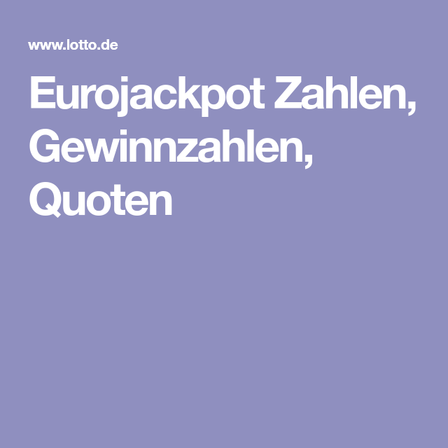 Letzten Eurojackpot Zahlen