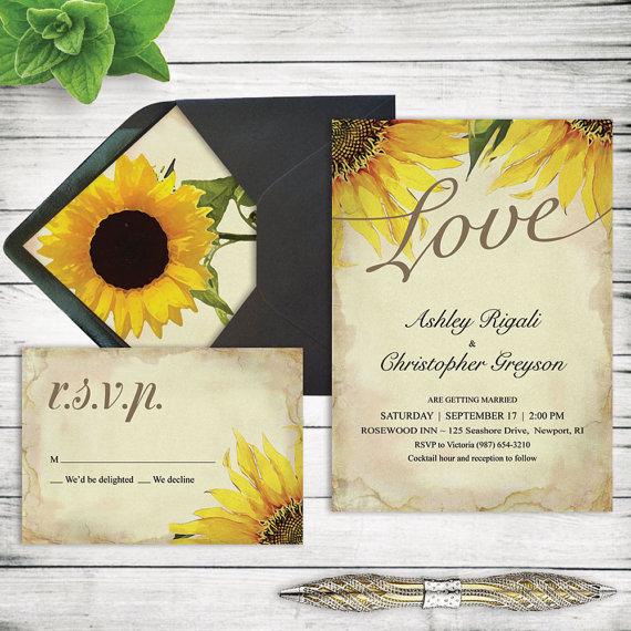 rustic sunflower wedding invitation set printable marriage, invitation samples