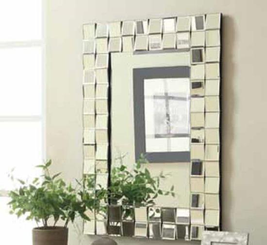901815 Checkered Zigzag Outer Edge Framed Rectangular Design