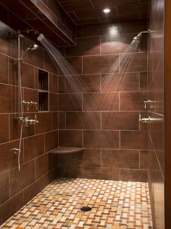 Contemporary Master Bathroom With Pental Corten Brown Copper 12x24