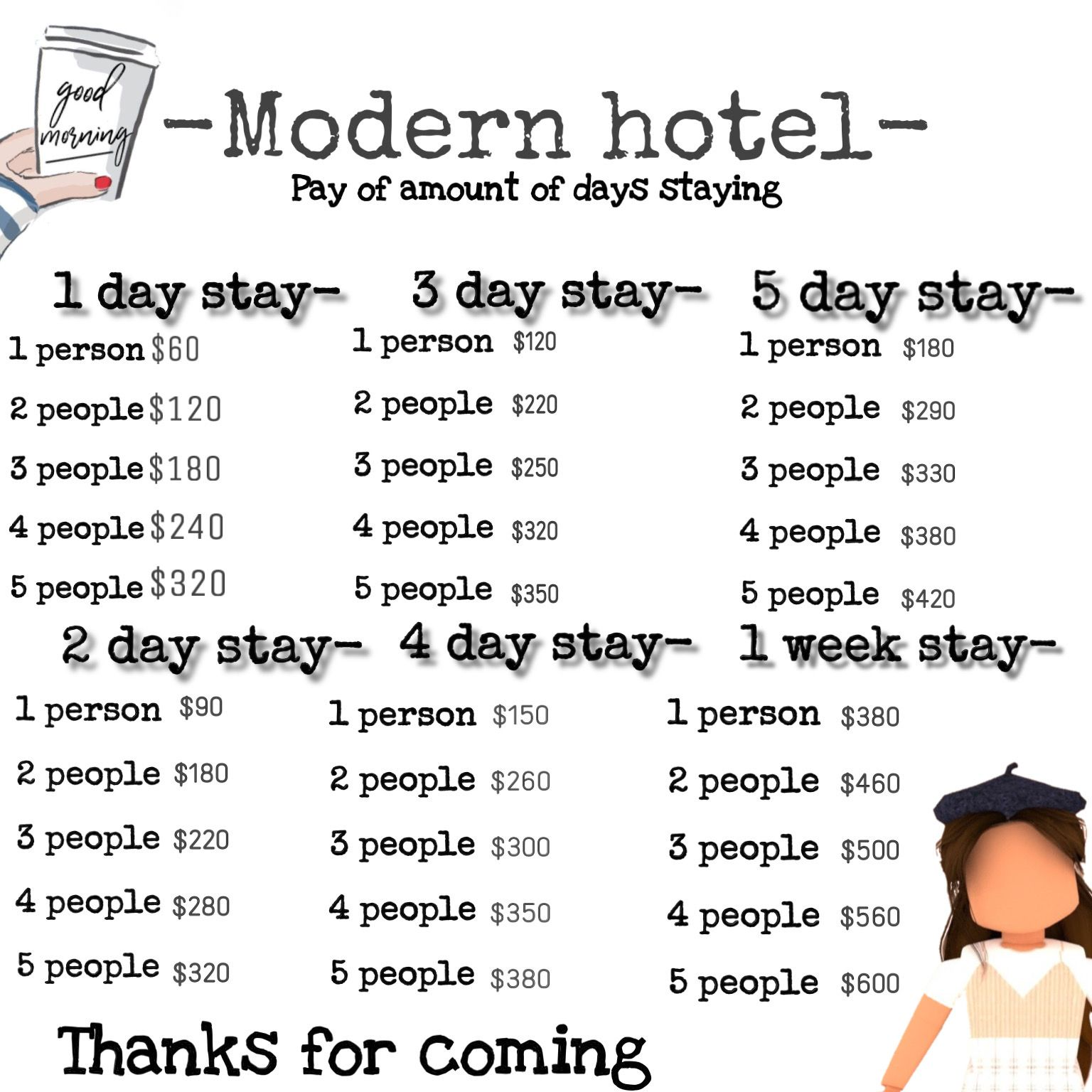 Modern Hotel Menu Decal In 2020 Roblox Pictures Custom Decals Decal Design