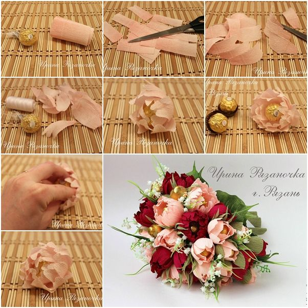 Chocolate Paper Peony Flower Bouquet Paper Flower Bouquet Paper Flowers Chocolate Bouquet Diy