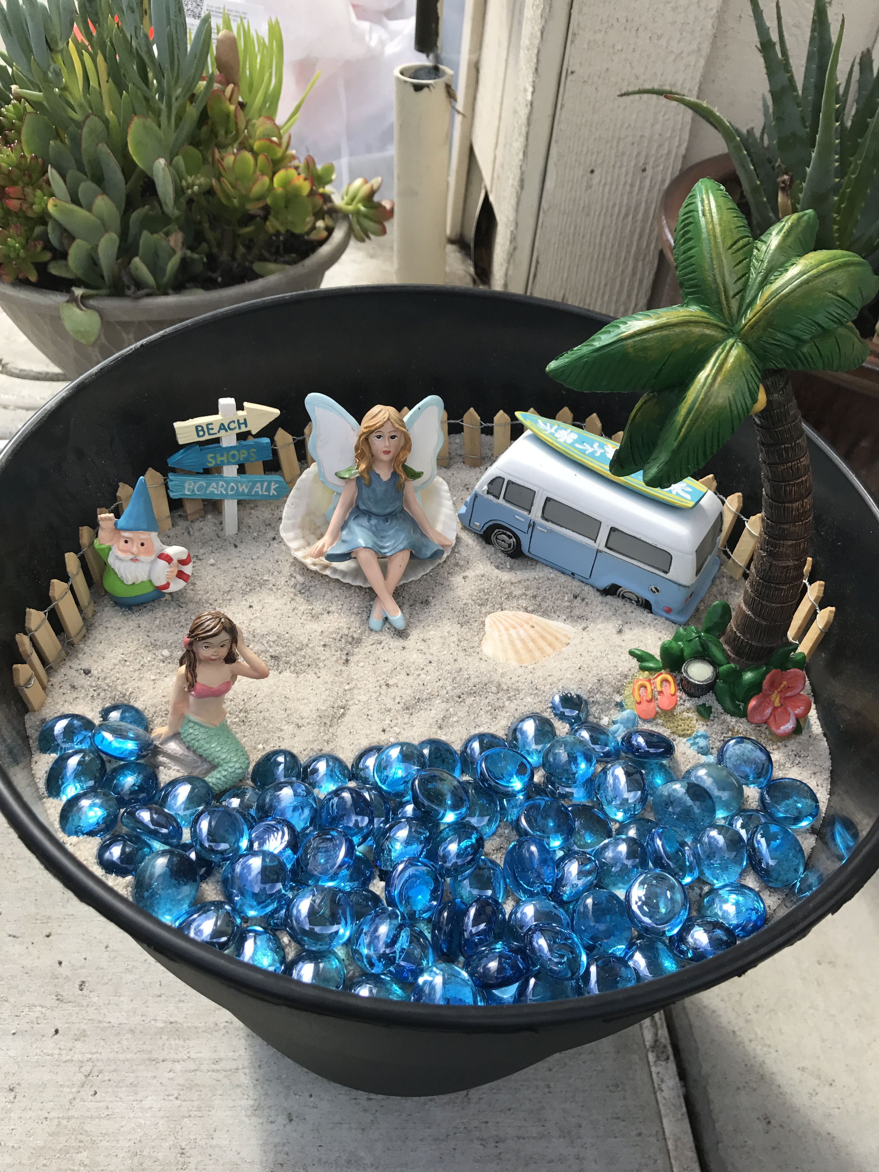 Beach Fairy Garden All Accessories From Michaels Gems The Dollar Sand Bucket Home Depot So Adorable