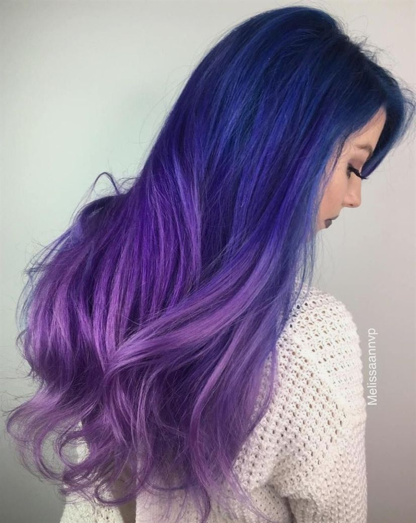 Blue to purple ombre hair ombrehaircolor ombre hair pinterest