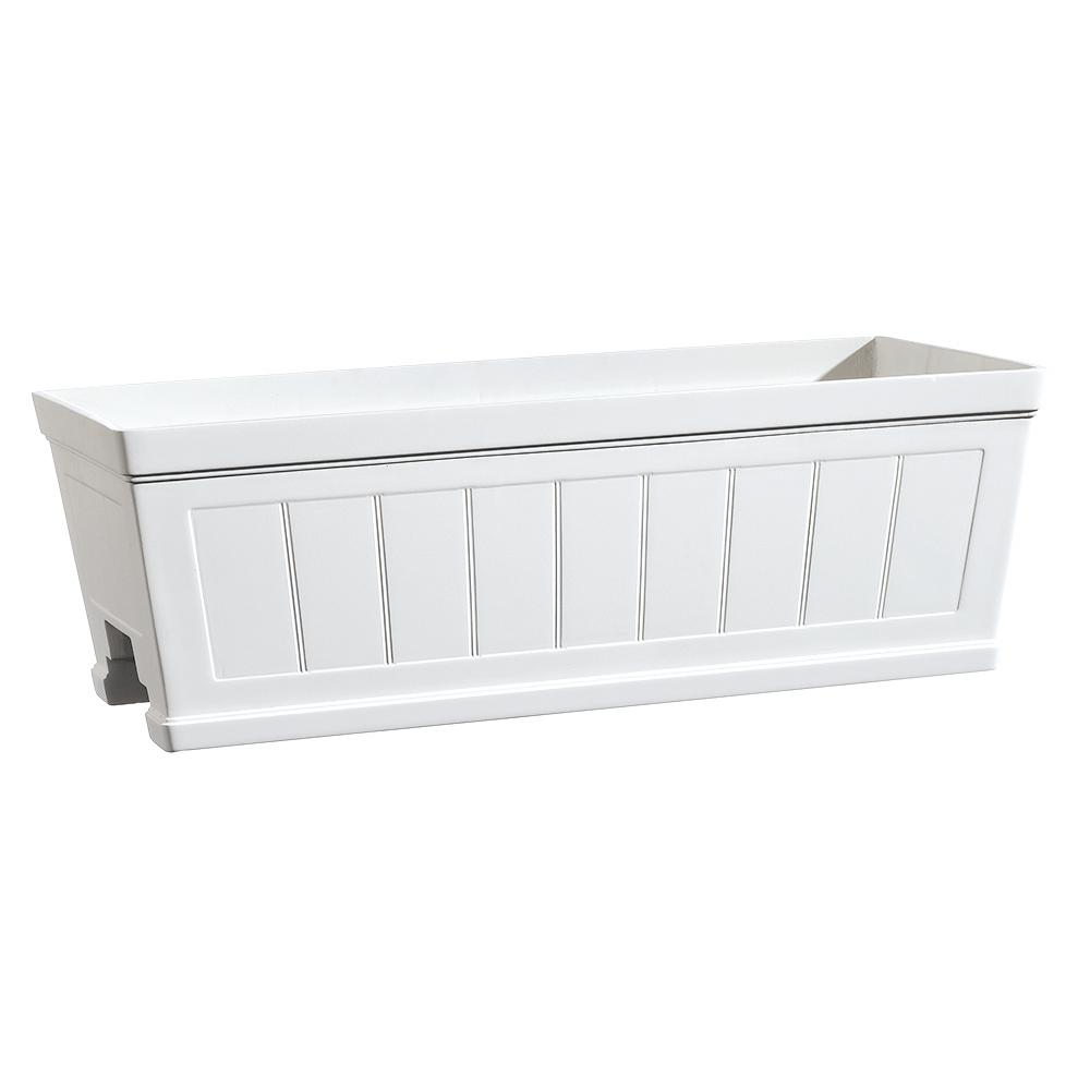 Hanover 27 In White Resin Beadboard Deck Rail Planter Hd1116 089 The Home Depot Deck Railing Planters Deck Railings Railing Planters