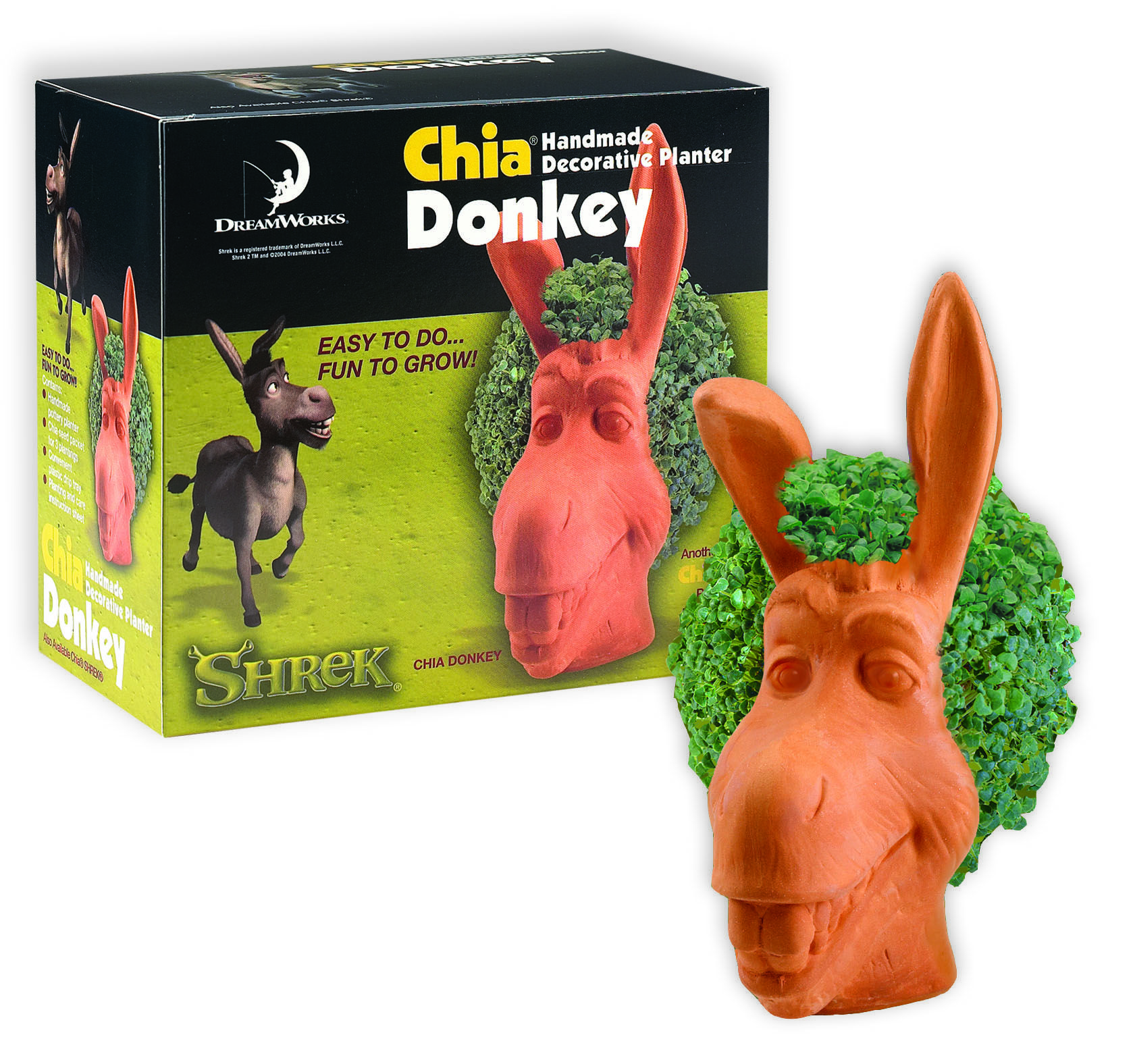 Chia Donkey The First In My Collection Has Hair In His Teeth Right Now Chia Pet Handmade Planter Decorative Planters