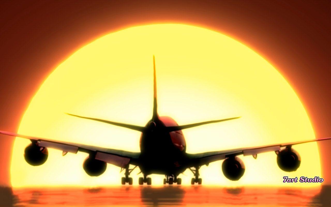 Airplane Sunset Landing Screensaver Animated Desktop Wallpaper Landing Undercarriage Is Reaching The Groun Screen Savers Airplane Landing Desktop Wallpaper