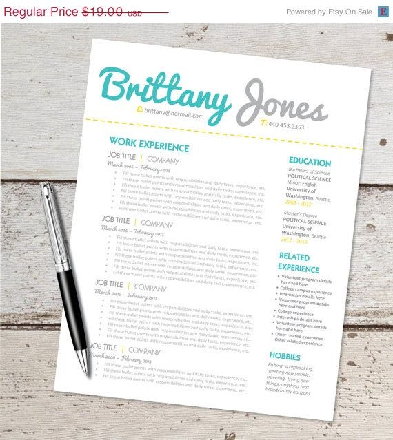 Ms Word For Sale Sale Instant Download  Resume Design Template  Microsoft Word .