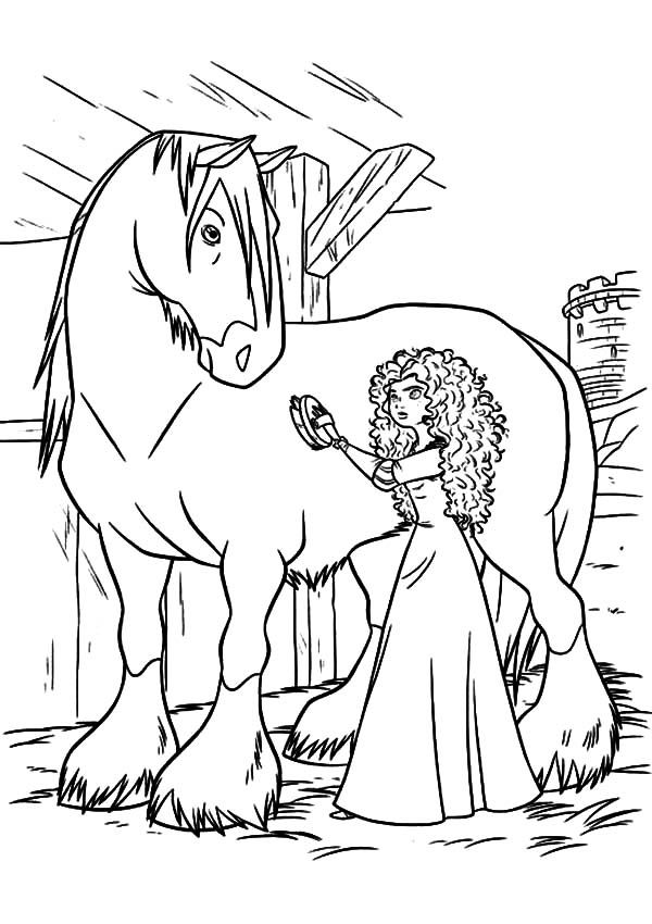 princess merida cleaning her horse coloring pagesjpg