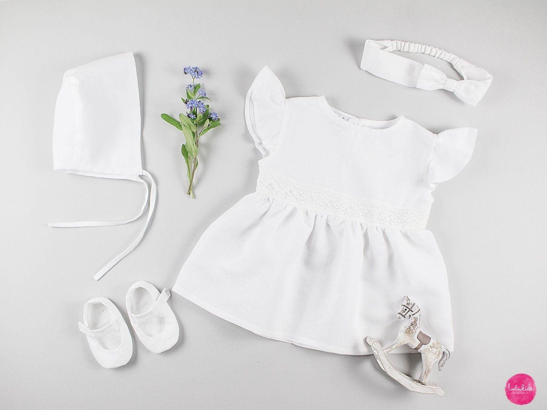 Taufkleid Madchen Leinen Babykleid Madchenkleid Leinenkleid Etsy Christening Dress Baby Dress Wedding Festival Dress