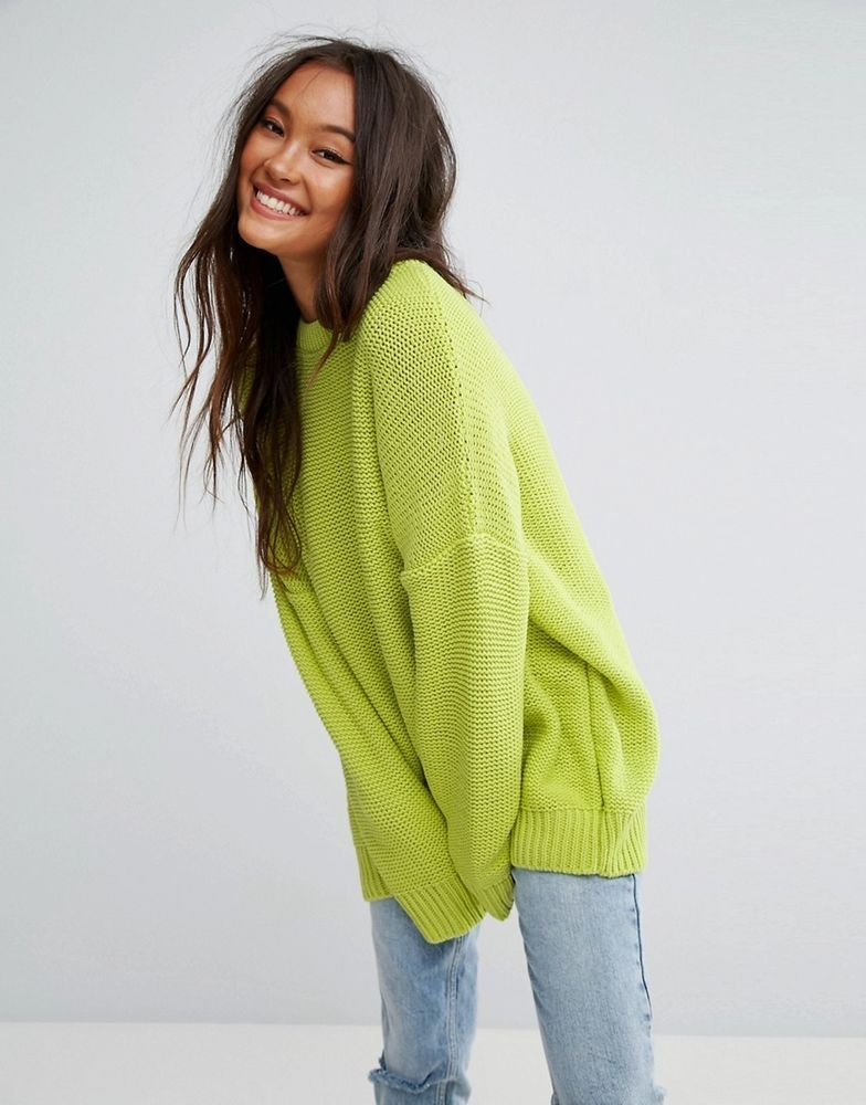 49c80a750a2036 BNWT ASOS LIME GREEN OVERSIZED JUMPER UK 6 8 10 12 #fashion #clothing  #shoes #accessories #womensclothing #sweaters (ebay link)