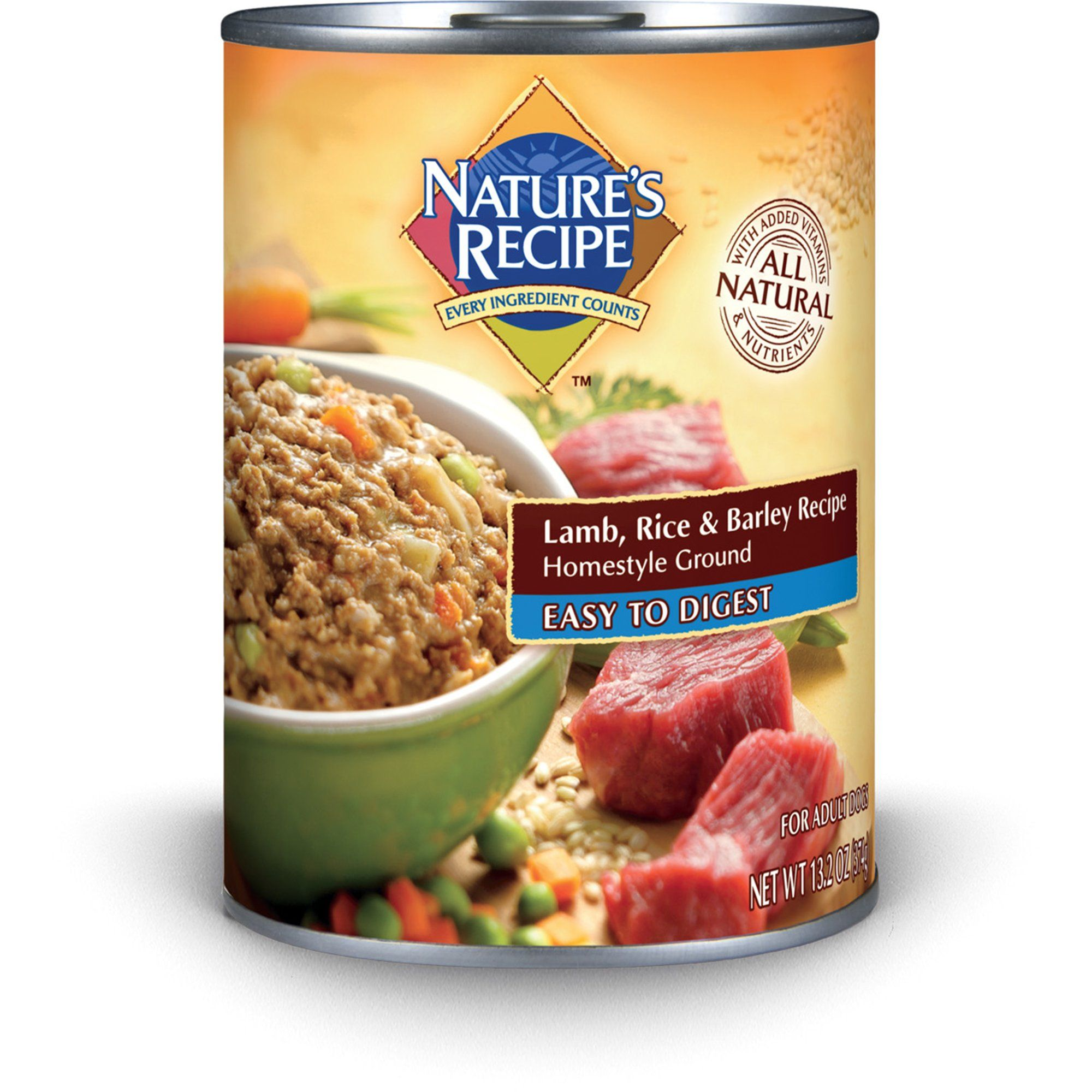 Nature S Recipe Easy To Digest Lamb Rice Barley Formula Canned Dog Food 13 2 Oz Case Of 12 Petco In 2021 Healthy Dog Food Recipes Dog Food Recipes Food