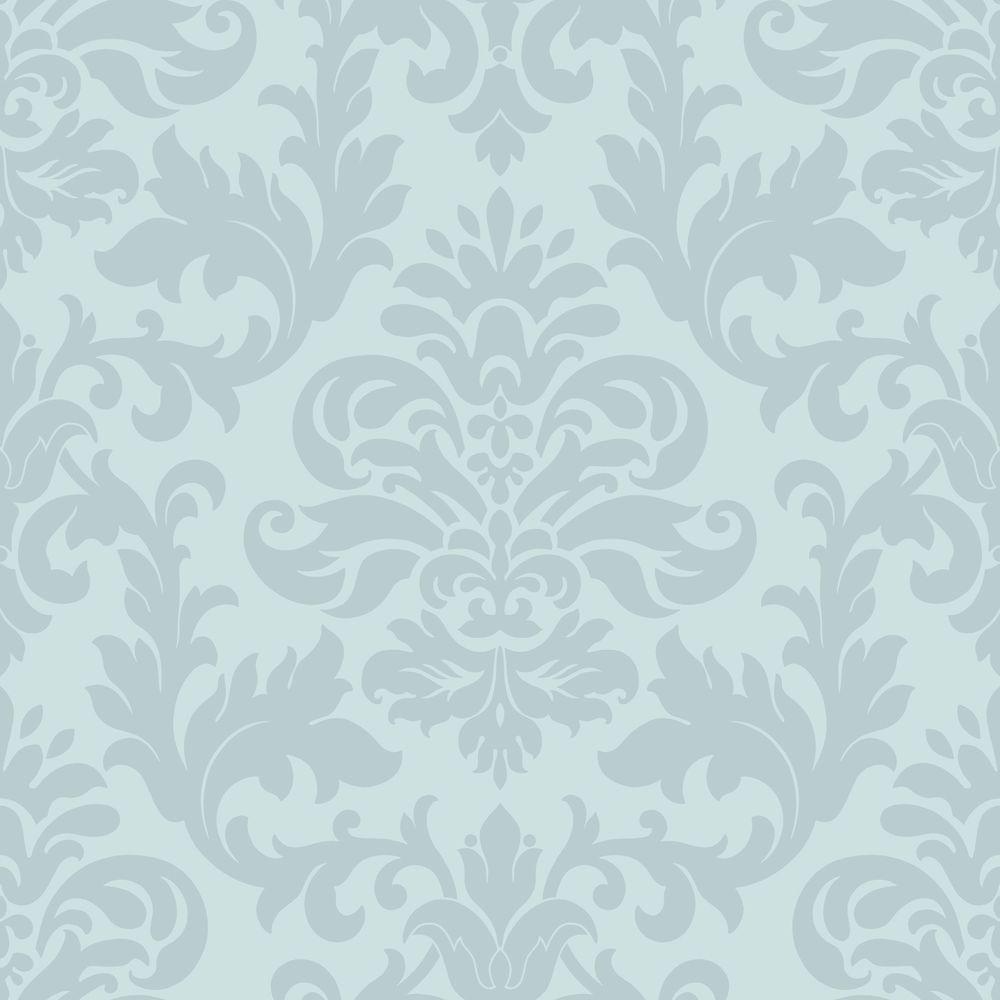 Duck Egg Blue Teal Damask Pattern Designer Feature Wallpaper