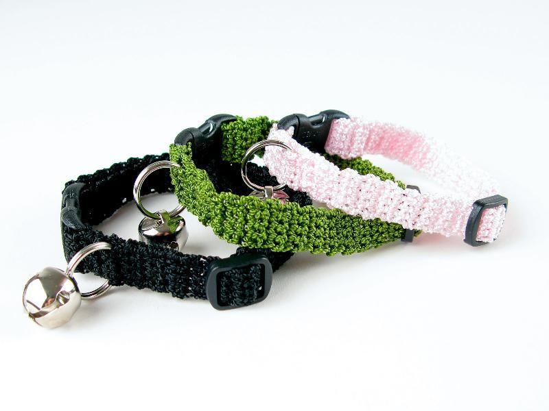 Crochet Kitty Cat Collar Pattern   roupa para cão   Pinterest ...