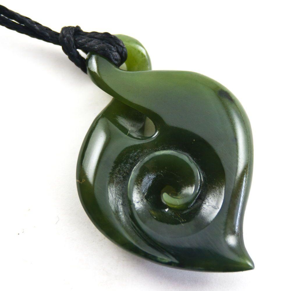 New Zealand greenstone pendant set in sterling silver