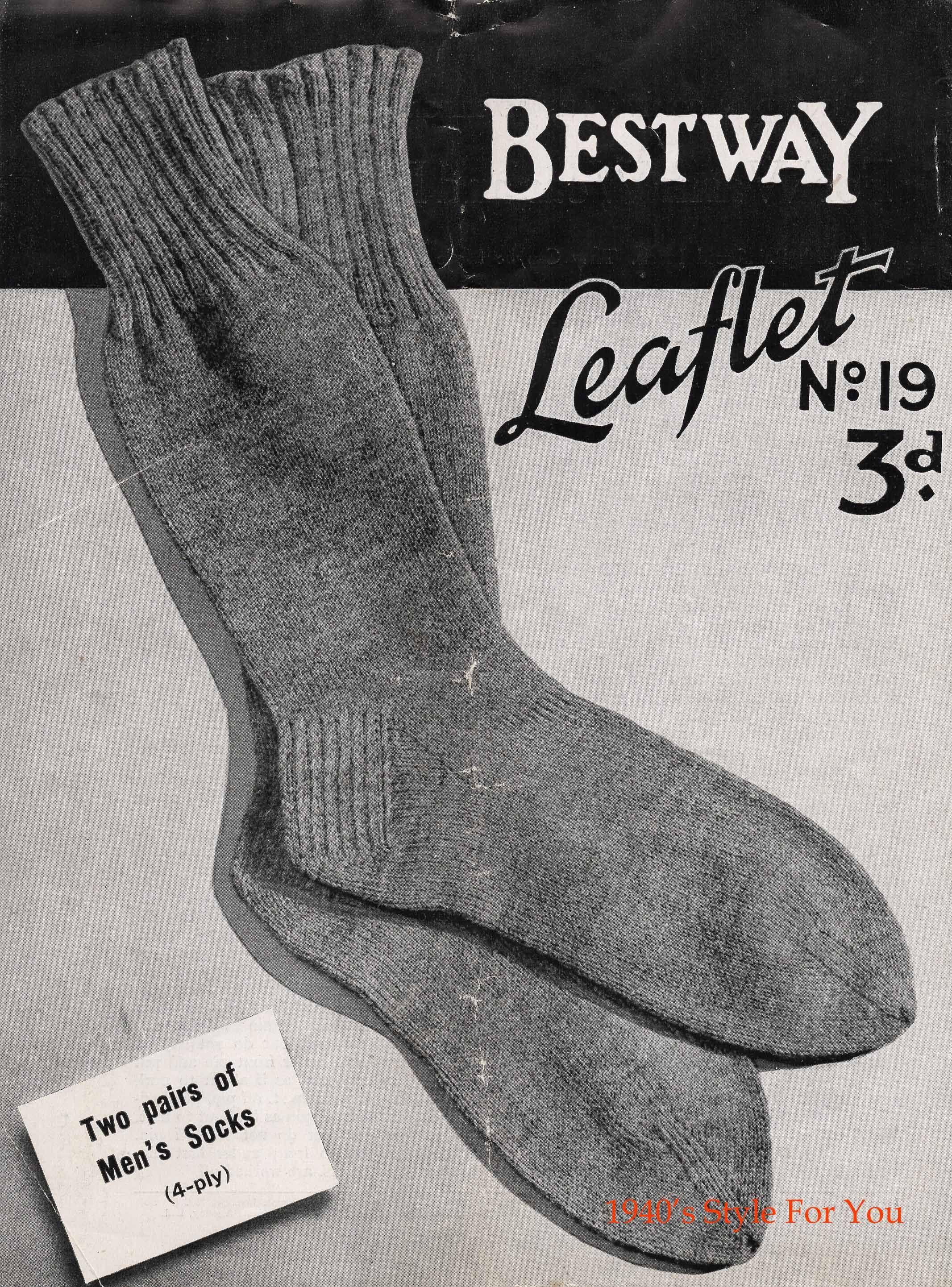 Bestway Knitting Pattern No. 19 Mens Socks | 1930s | Pinterest ...