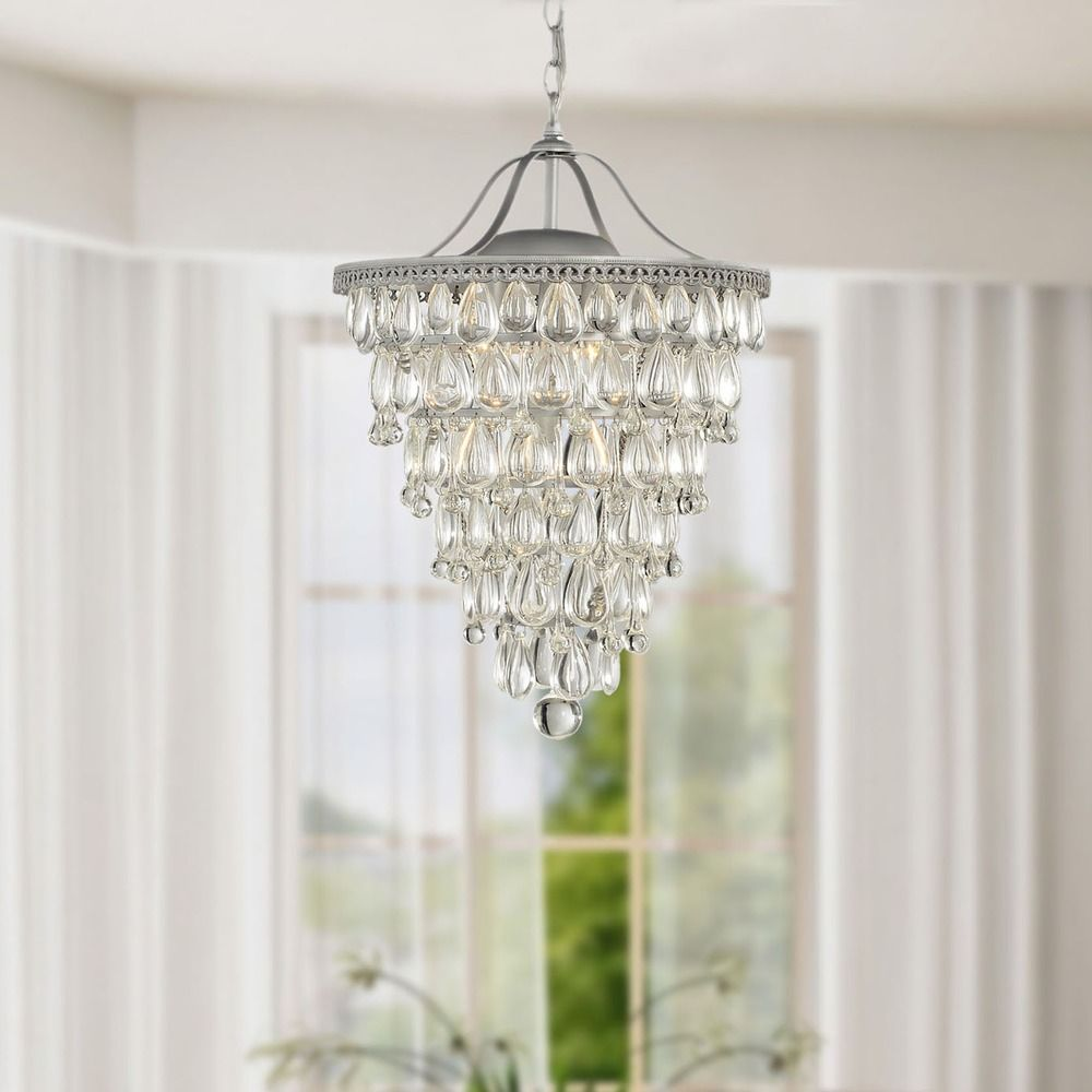 Cone shape 4 light matte silver crystal chandelier overstock ceiling lights for less arubaitofo Choice Image