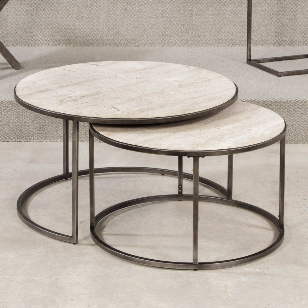 Hammary Modern Basics Round Cocktail Table Natural Travertine Textured Tables Pinterest