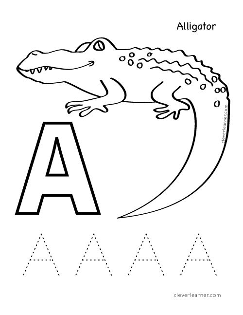 a is for alligator. letter a sound and coloring sheet #preschool ... - Letter A Alligator Coloring Pages