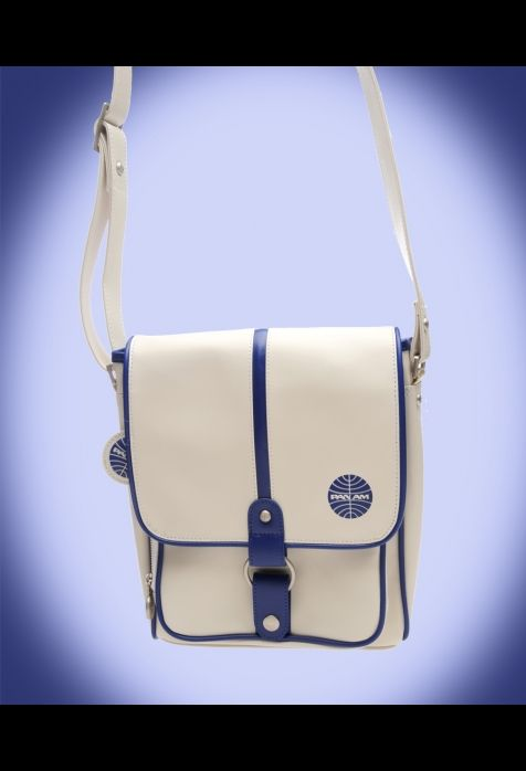 Traffic Messenger Bag in White with Dark Blue